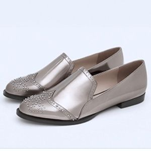Zara 9.5 silver metallic loafers flats shoes